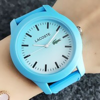 Lacoste Stylish Women Men Chic Silicone Quartz Watch Movement Wristwatch Blue