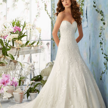 Embroidered Lace Appliques on Net with Scalloped Hemline over Soft Satin Morilee Bridal Wedding Dress   Style 5404   Morilee