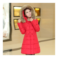 Plus Size Fur Collar Slim Thick Down Coat   red   S