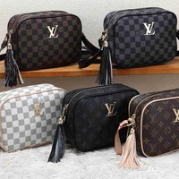 """Louis Vuitton"" Classic Retro Fashion Multicolor Print Messenger Bag Women Small Square Bag"