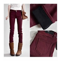 Wine Red Cotton Thicken Slim Fitting Pant S/M/L/XL/XXL/3XL H4853wr