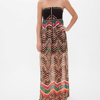 Fire Chevron Tube Top Dress