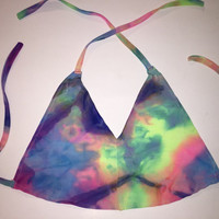 Rainbow Melted Tie Dye Halter Top - tie dye crop ravewear electric forest tomorrowworld edc