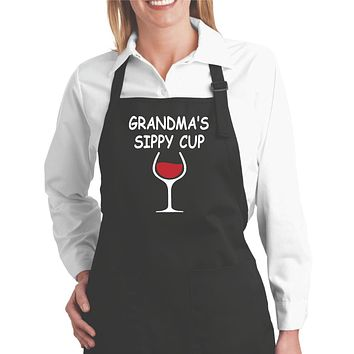 Funny Aprons | Grandmas Sippy Cup Funny Cooking Aprons for Women