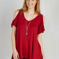 Athletic Mid-length Short Sleeves Tent The Secret of Whim Top in Rich Red