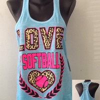 Racer tank w/ laced back- LOVE SOFTBALL- Also Available - soccer, cheer, dance