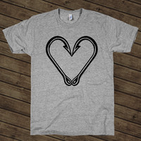 Fish Hook Heart on an Athletic Grey T Shirt