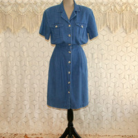 Vintage Short Sleeve Denim Dress Large Midi Button Up Shirtwaist Dress with Pockets Casual Womens Dresses 80s 90s Talbots Womens Clothing