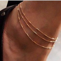 Three Rows Bar Style Adjustable Chains Body Chain Anklet 925 Sterling Silver