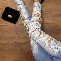 Light Blue Lace Design Denim Trousers