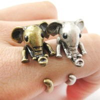Adorable Elephant Shaped Animal Wrap Ring in Brass | US Sizes 7 to 9