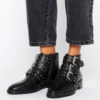ASOS ASHER Leather Studded Ankle Boots at asos.com