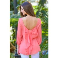 EVERLY:Just Too Cute Bow Back Blouse-Coral