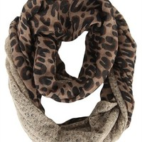 Infinity Scarf with Leopard Print and Lurex Sweater Knit Trim