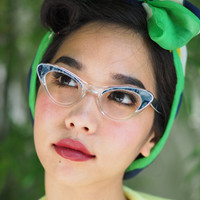 Vintage Cat Eye Frame Eyeglasses 1960's Multi Layer Plastic Two Tone Blue Marble To Clear