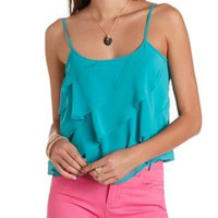Sheer Drawstring Waist Ruffle Tank Top by Charlotte Russe - Teal