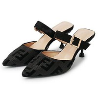 FENDI Fashion Women Casual F Letter Pointed Half Slippers Sandals High Heels Shoes Black