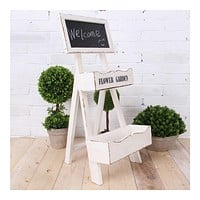 Double-layer Storage Rack Blackboard Flower Stand Wood    white
