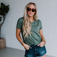 In the Raw Distressed Tee - Olive