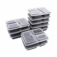 10pcs Meal Prep Containers Plastic Food Storage Microwavable 3 Compartment Bento Box Food Grade Plastic Boxes 22.5 * 16.9 * 5cm