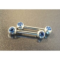 Cobalt Sapphire Blue Crystal Nipple Bar Jewelry Barbell