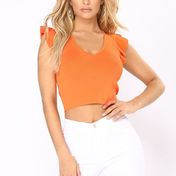 So Many Times Ruffle Top - Orange