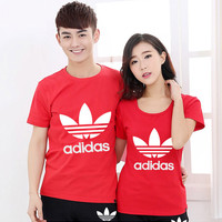 """""""Adidas"""" Couple shirt Simple Casual Letter Print Cotton  Round Neck T-shirt Sportswear Shirt Top Tee"""