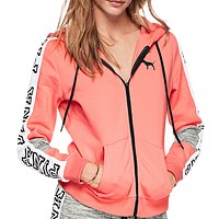 Victoria's Secret Pink  Hooded long sleeved sweater stitching and female