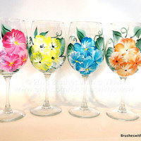Tropical Flowers Hand Painted Hibiscus Wine Glasses Set of 4