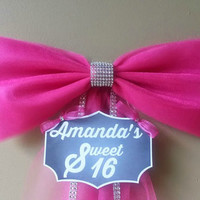 Personalized Sweet 16 Decoration- Party Decoration- Sweet 16 Bow- Quincenera Decoration- Sweet 16 Party Decoration- Wreath Mailbox Door