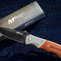 Personalized Knife - Great Gift for Him!  - Custom Engraved Wood And Black Stainless Steel