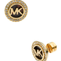 Michael Kors Logo Pave Stud Earrings, Golden/Tortoise