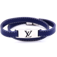Louis Vuitton LV New vintage blue leather rope women and men bracelet jewelry blue