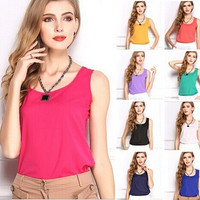 Size S-XXL 2014 summer new Women Blouses fashion Chiffon tank Tops Vest Shirts solid candy color camis chiffon loose top Shirt = 1958699140