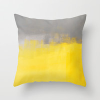 Grey and Yellow Abstract Art Painting Throw Pillow by T30 Gallery