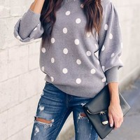 New Grey Polka Dot Long Sleeve Going out Casual Blouse