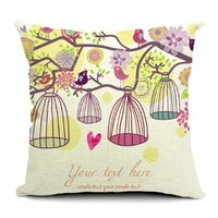 GoldMice Cute Birds Cages and Pastoral Flowers Pattern Cotton Linen Throw Pillow Cover, Pillowcase, Cushion Cover, Back Cushion Cover, Car Cushion Cover 18*18 Inch (Yellow)