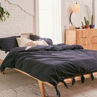 Knotted Washed Cotton Duvet Cover | Urban Outfitters