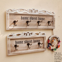 Vintage Wood Home Sweet Home Decorative Wall Mounted Hooks Organizer Rack