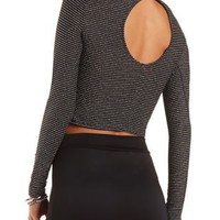 Silver-Striped Mock Neck Crop Top by Charlotte Russe - Black Combo