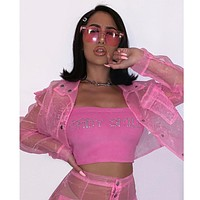 Women Sexy Pink See Through Mesh Two Piece Long Sleeve Crop Jacket Skirt Set