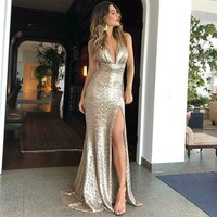 Evening Dress V Neck Golden Glitter Prom Dress Slit Long Dress