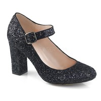 Fabulicious Black Glitter Mary Jane Pumps