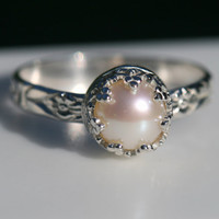 Pearl Ring, Sterling Silver Pearl Ring, Flower Ring Band, Pearl Crown Ring, June Birthstone Ring, Size 6.5 Ring, Princess Ring Maggie McMane