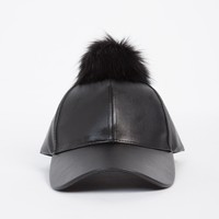 Pom Leather Baseball Cap