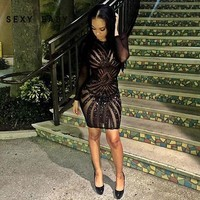 Sexy Long Sleeve Mesh Patchwork Black Sequin Pencil Midi Dress Sexy Club Night  Bandage Bodycon Party Dresses