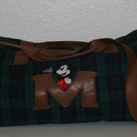 90s large duffel bag Mickey Mouse Plaid brown leather weekend weekender hipster grunge punk cyber pastel goth boho gothic blue green black