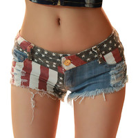 Sexy Women's The flag of the United States women's Club hole Jeans Short Shorts Hot Denim Low Waist Daisy Dukes shorts women
