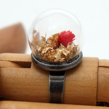 Mini red rose glass dome globe ring with genuine gold by XercesArt