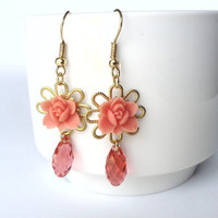 Pastel pink resin petite roses cabochon and swarovski chrystal earrings, brides maid, bridal jewelry,